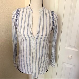 Zara Basic Striped Button Long Sleeve Blouse XS